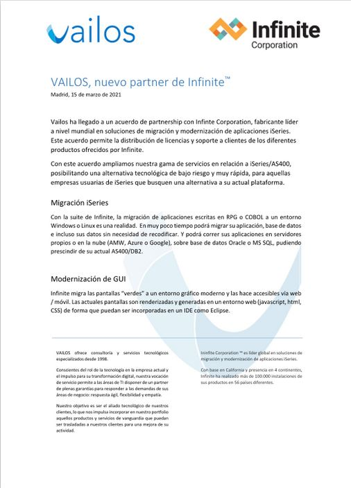 Vailos es partner de Infinite Corporation